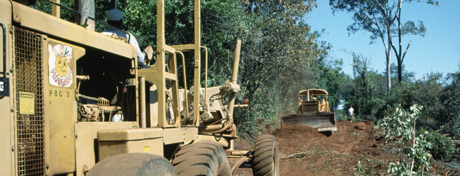 Bulldozers are used to build a new road in Manica Province, Mozambique